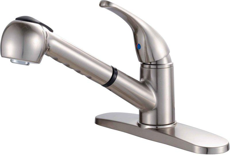13-6952 Satin Nickel Single Hybrid Pull-Out Kitchen Faucet