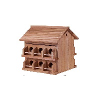 Purple Martin M-12DP Deluxe Bird House, 2-3/4 in L x 2-3/4 in W x 10 in H, Redwood/Cedar, Brown