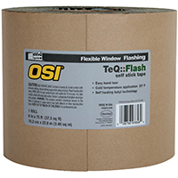 OSI 1020002 Window Flashing Tape, 9 in W x 100 ft L x 20 mil T, Black