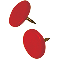 Hillman 122673 Thumb Tack, 23/64 in Diameter, 3/8 in L, 15/64 in L Shank, Steel, Red?