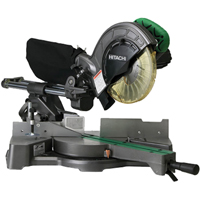 Hitachi C8FSE Single Bevel Sliding Compound Corded Miter Saw, 120 VAC, 9.2 A, 1050 W, 5500 rpm