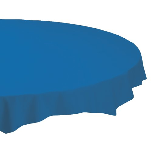 "Octy-Round Plastic Tablecover, 82"" Diameter, Blue, 12/Carton"