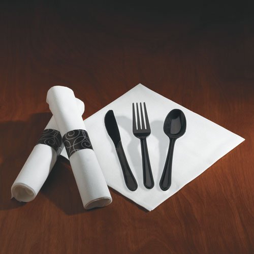 CaterWrap Pre-Rolled Heavyweight Black Cutlery, 100 Settings