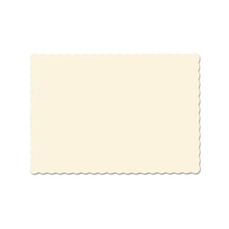 Solid Color Scalloped Edge Placemats, 9 1/2 x 13 1/2, Ecru, 1000/Carton