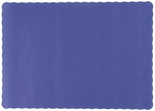 Solid Color Scalloped Edge Placemats, 9 1/2 x 13 1/2, Navy Blue, 1000/Carton