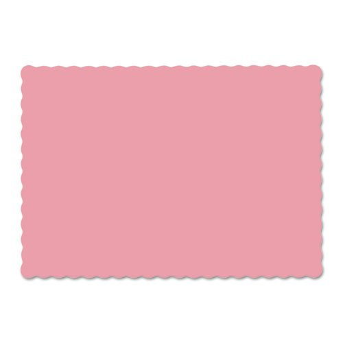 Solid Color Scalloped Edge Placemats, 9 1/2 x 13 1/2, Dusty Rose, 1000/Carton