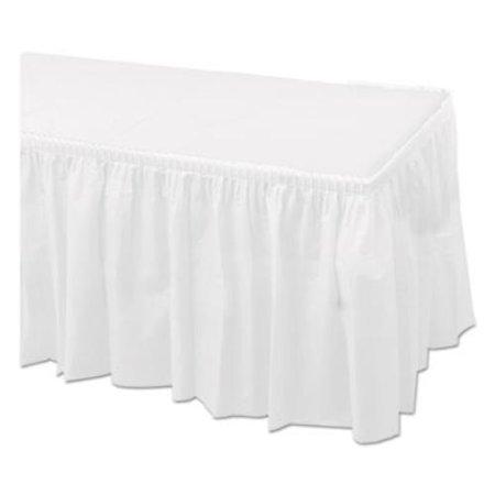"Tableskirts, Plastic, White, 29"" x 14 ft, 6/Carton"