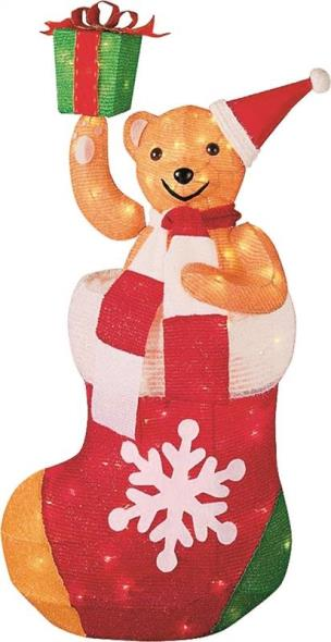 Holiday Basix T14(30)T-100L Tinsel Teddy Bear, 30 in H
