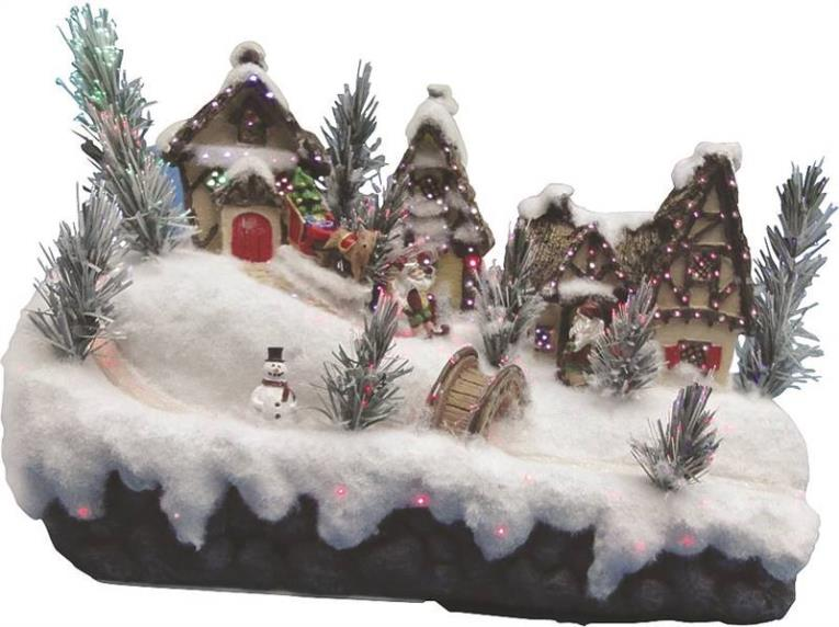 Holiday Basix FBS13SB003AA-A Battery Operated LED Church Village Figurine, 13 in H