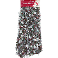 Holiday Trims 3686434 Garland, Snowflakes, Red/Green/White, 3.5 x 18 Inch