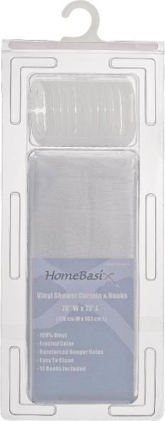 Homebasix SD-625FT-3L Heavy Duty Shower Curtain With Hooks, 70 in W x 72 in L x 0.06 mm T, Vinyl, 2.4 ga PVC
