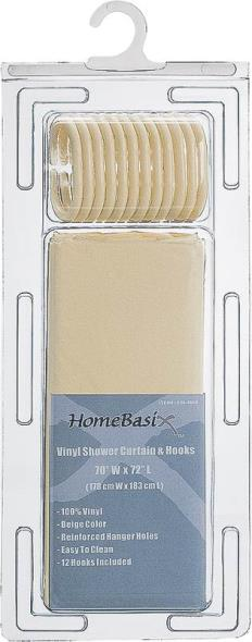 Homebasix SD-626BG-3L Heavy Duty Shower Curtain With Hooks, 70 in W x 72 in L x 0.06 mm T, Vinyl, 2.4 ga PVC, Beige