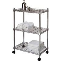 HOMEBASIX 3Tier Jumbo Storage Cart Chrome per EA
