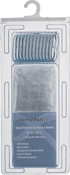 Homebasix SD-625CL-3L Heavy Duty Shower Curtain With Hooks, 70 in W x 72 in L x 0.06 mm T, Vinyl, 2.4 ga PVC, Clear