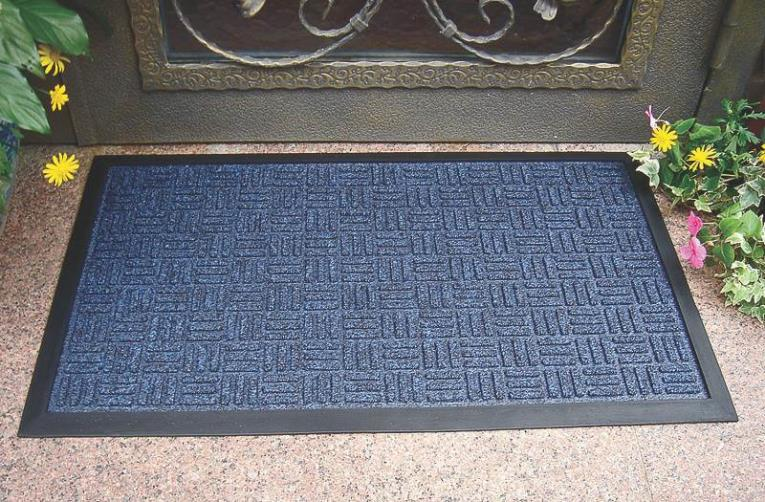 MAT DOOR RUBBER BLUE 18X30IN