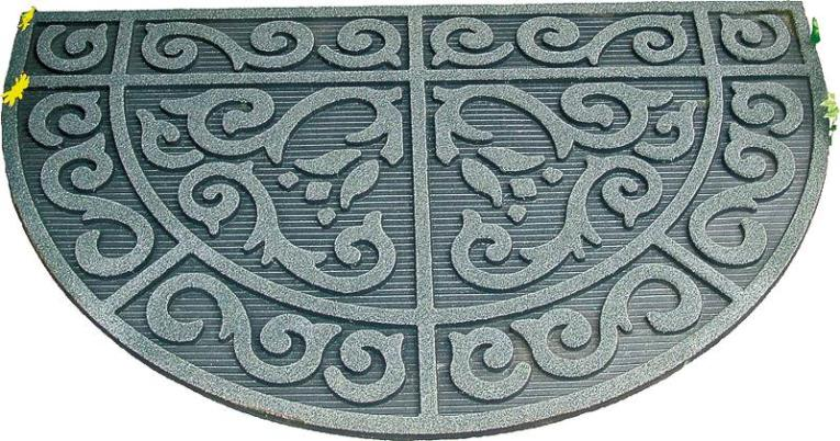 Homebasix 06ABSHE-14-3L Half Circle Door Mat, 39 in L X 24 in W, Recycled Rubber