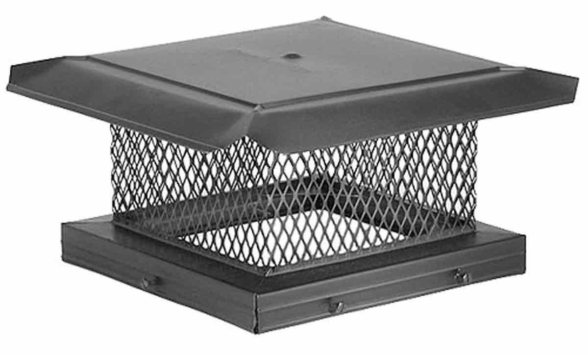 "8"" x 17"" HomeSaver Pro Black Galvanized Chimney Cap, 5/8"", 18-ga, 8"" High Mesh, 24-ga Lid"