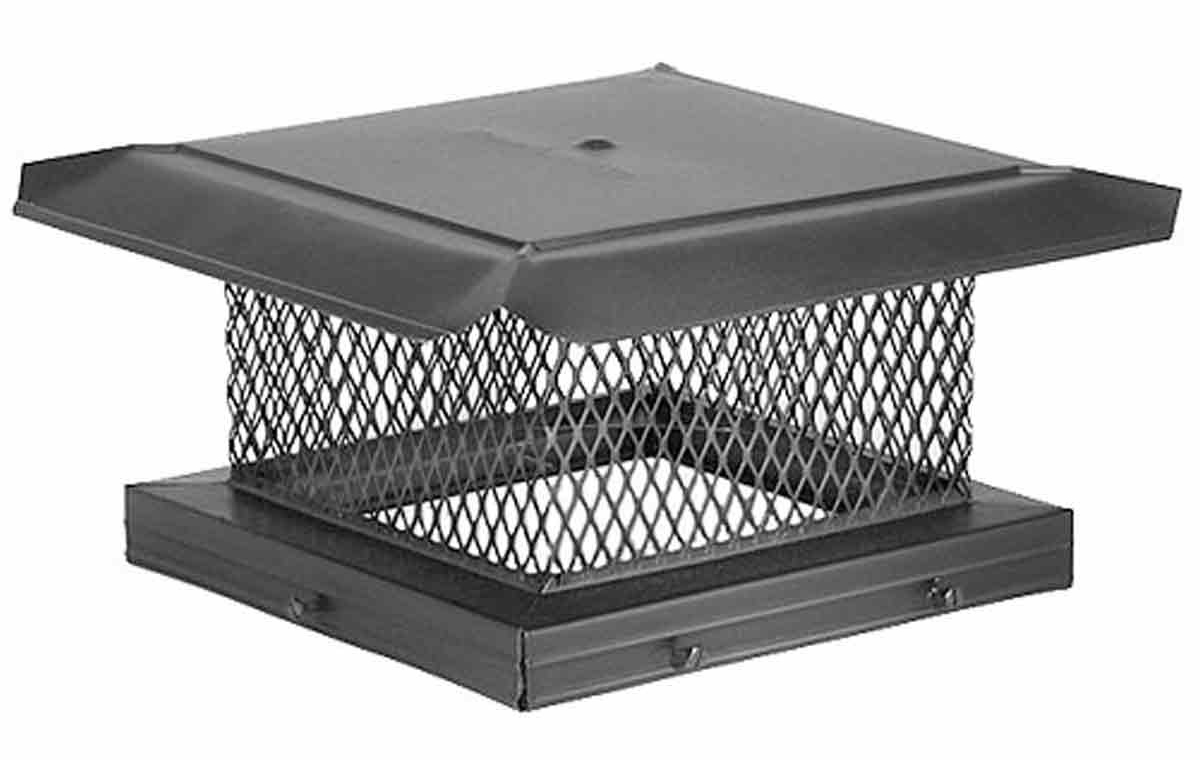 "13"" x 17"" HomeSaver Pro Black Galvanized Chimney Cap, 5/8"", 18-ga, 8"" High Mesh, 24-ga Lid"