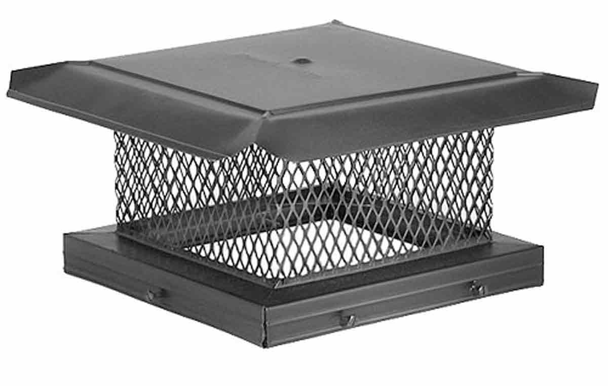 "10"" x 17"" HomeSaver Pro Black Galvanized Chimney Cap, 5/8"", 18-ga, 8"" High Mesh, 24-ga Lid"