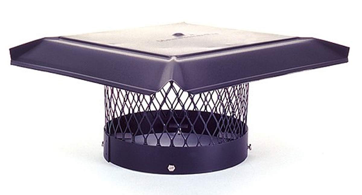 "12"" HomeSaver Pro Black Round Chimney Cap, 3/4"" Mesh"