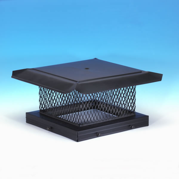 "8"" x 8"" HomeSaver Pro Black Galvanized Chimney Cap, 5/8"", 18-ga, 8"" High Mesh, 24-ga Lid"
