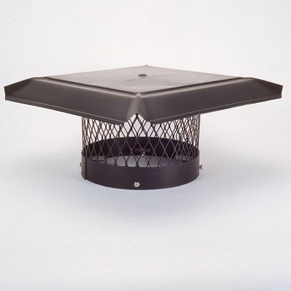 "8"" HomeSaver Pro Black Round Chimney Cap, 3/4"" Mesh"