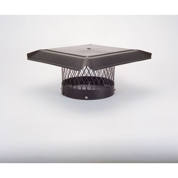"10"" HomeSaver Pro Black Round Chimney Cap, 3/4"" Mesh"
