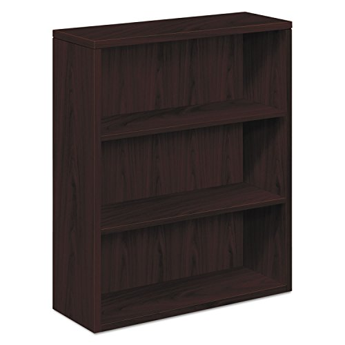 10500 Series Laminate Bookcase, Three-Shelf, 36w x 13-1/8d x 43-3/8h, Mahogany