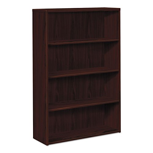 10500 Series Laminate Bookcase, Four-Shelf, 36w x 13-1/8d x 57-1/8h, Mahogany