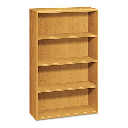 10700 Series Wood Bookcase, Four Shelf, 36w x 13 1/8d x 57 1/8h, Harvest