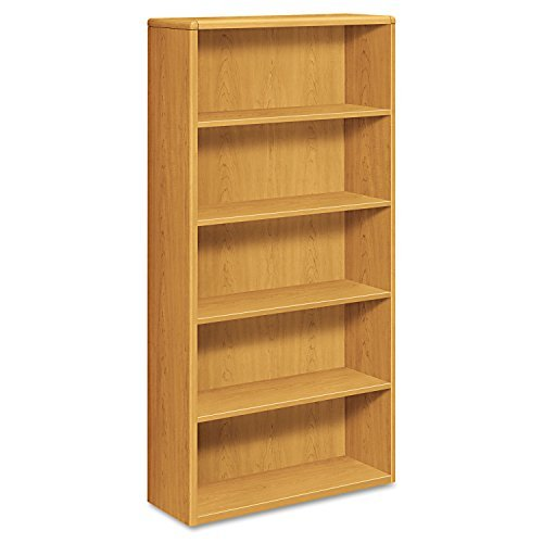 10700 Series Wood Bookcase, Five Shelf, 36w x 13 1/8d x 71h, Harvest