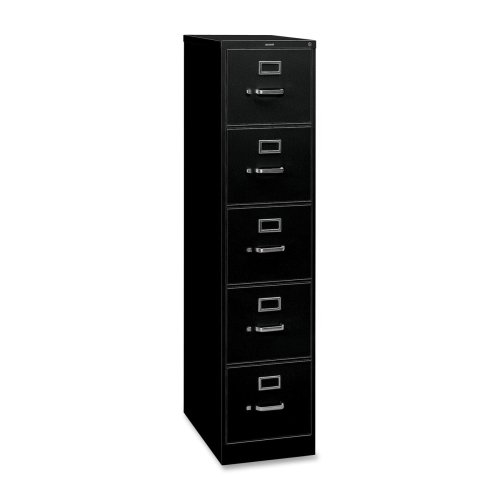 310 Series Five-Drawer, Full-Suspension File, Legal, 26-1/2d, Black