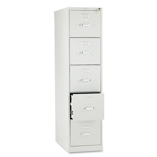 310 Series Five-Drawer, Full-Suspension File, Letter, 26-1/2d, Light Gray