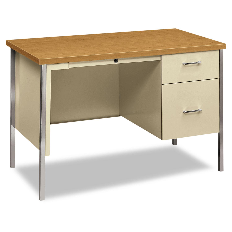 34000 Series Right Pedestal Desk, 45 1/4w x 24d x 29 1/2h, Harvest/Putty