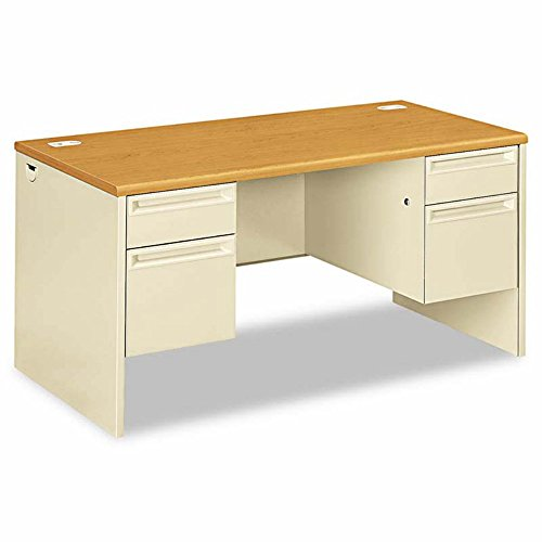 38000 Series Double Pedestal Desk, 72w x 36d x 29-1/2h, Harvest/Putty