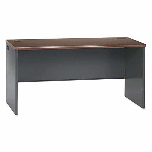 38000 Series Desk Shell, 60w x 24d x 29-1/2h, Mahogany/Charcoal