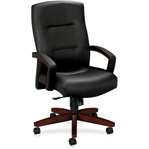 5000 Series Executive High-Back Swivel/Tilt Chair, Black Leather/Mahogany