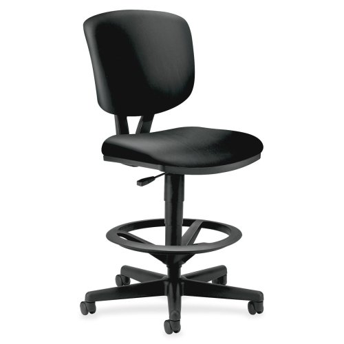 Volt Series Adjustable Task Stool, Black Leather