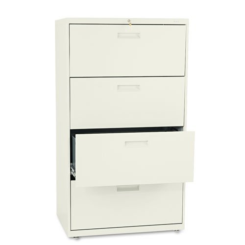 500 Series Four-Drawer Lateral File, 30w x 19-1/4d x 53-1/4h, Putty