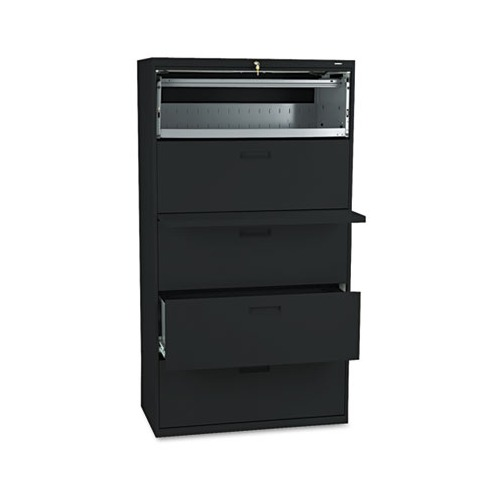500 Series Five-Drawer Lateral File, 36w x 19-1/4d x 67h, Black