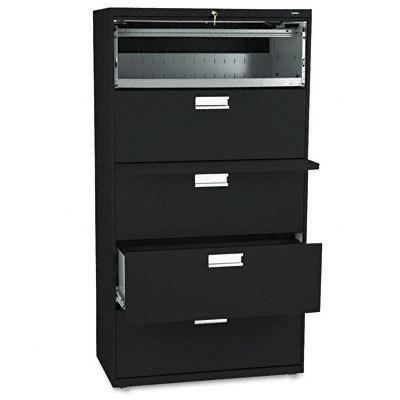 600 Series Five-Drawer Lateral File, 36w x 19-1/4d, Black