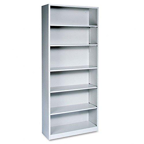 Metal Bookcase, Six-Shelf, 34-1/2w x 12-5/8d x 81-1/8h, Light Gray