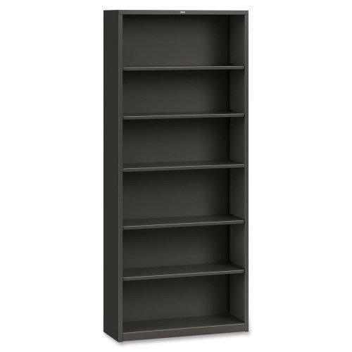 Metal Bookcase, Six-Shelf, 34-1/2w x 12-5/8d x 81-1/8h, Charcoal