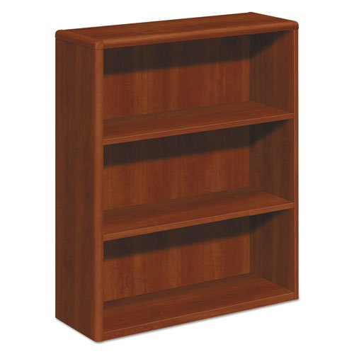 10700 Series Wood Bookcase, Three Shelf, 36w x 13 1/8d x 43 3/8h, Cognac