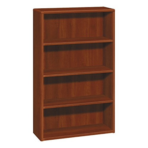 10700 Series Wood Bookcase, Four Shelf, 36w x 13 1/8d x 57 1/8h, Cognac