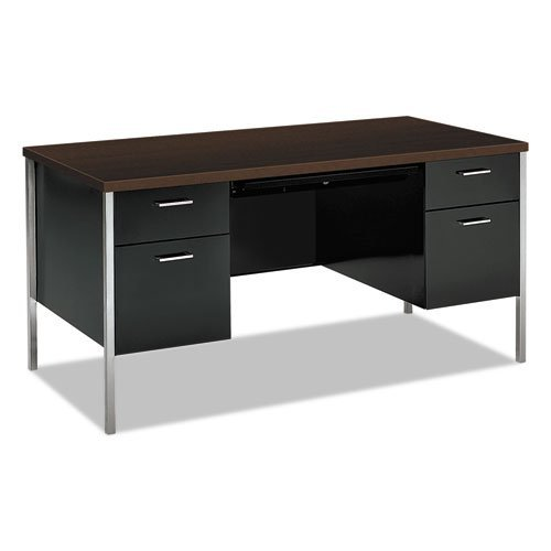 34000 Series Double Pedestal Desk, 60w x 30d x 29 1/2h, Mocha/Black