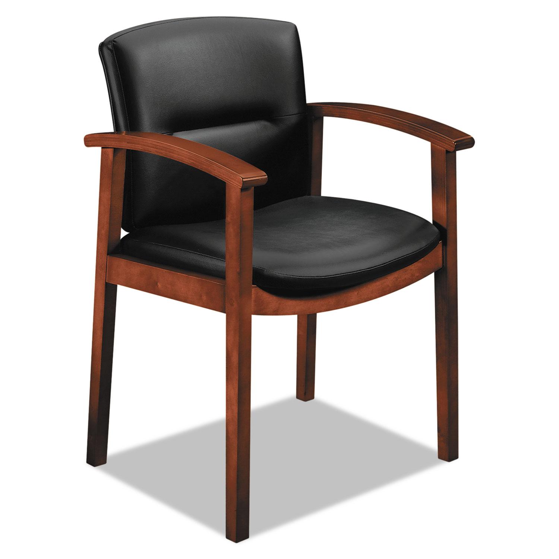 5000 Series Park Avenue Collection Guest Chair, Black Leather/Cognac