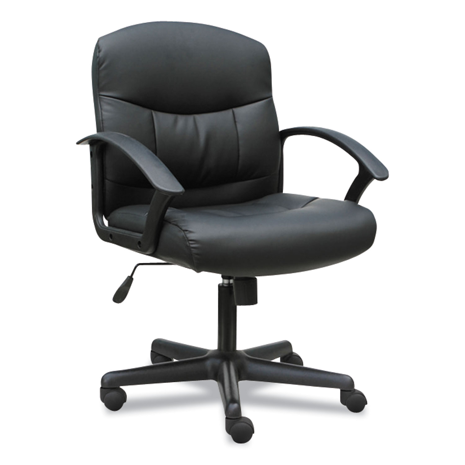 3-Oh-Three Mid-Back Executive Leather Chair, Supports up to 250 lbs., Black Seat/Black Back, Black Base