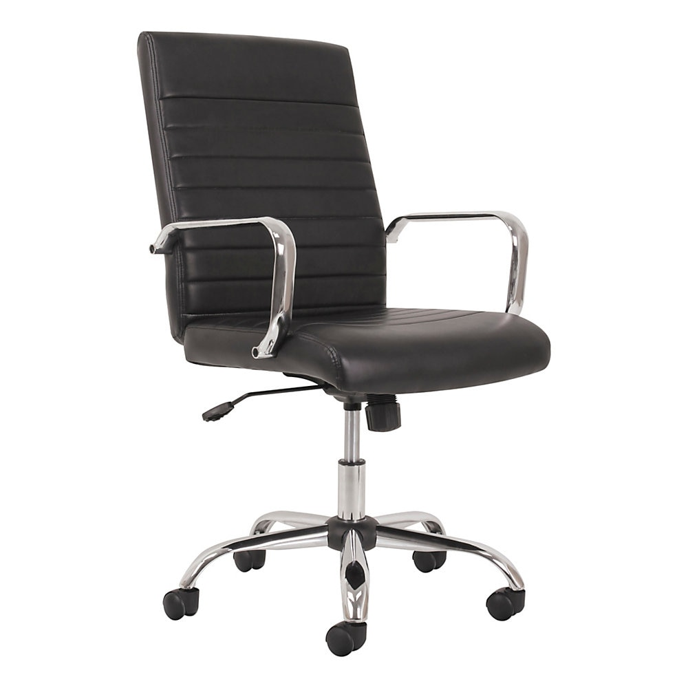 5-Eleven Mid-Back Executive Chair, Supports up to 250 lbs., Black Seat/Black Back, Aluminum Base