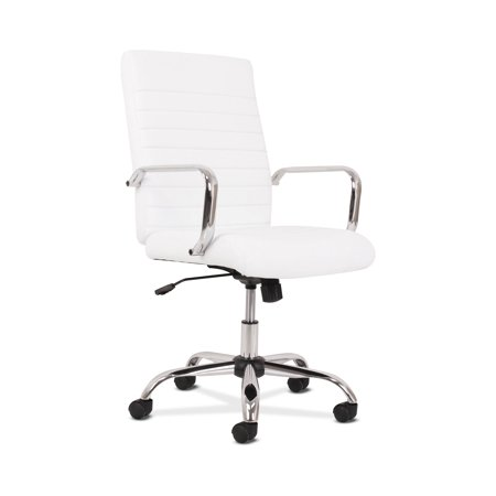 5-Thirteen Mid-Back Executive Leather Chair, Supports up to 250 lbs., White Seat/Back, Chrome Base